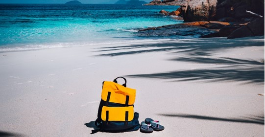 Backpack on a beach