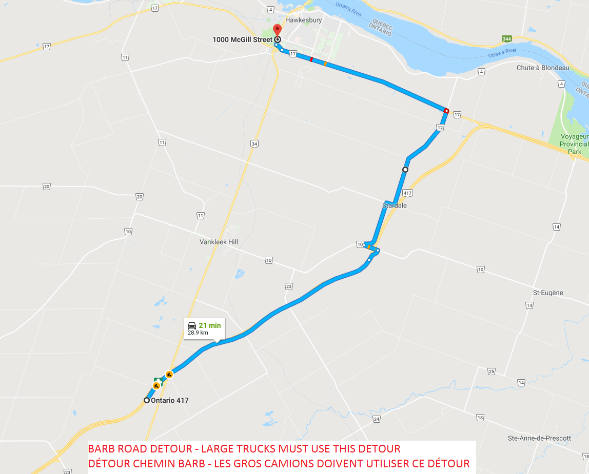 Barb Road Detour - Large trucks must use this detour