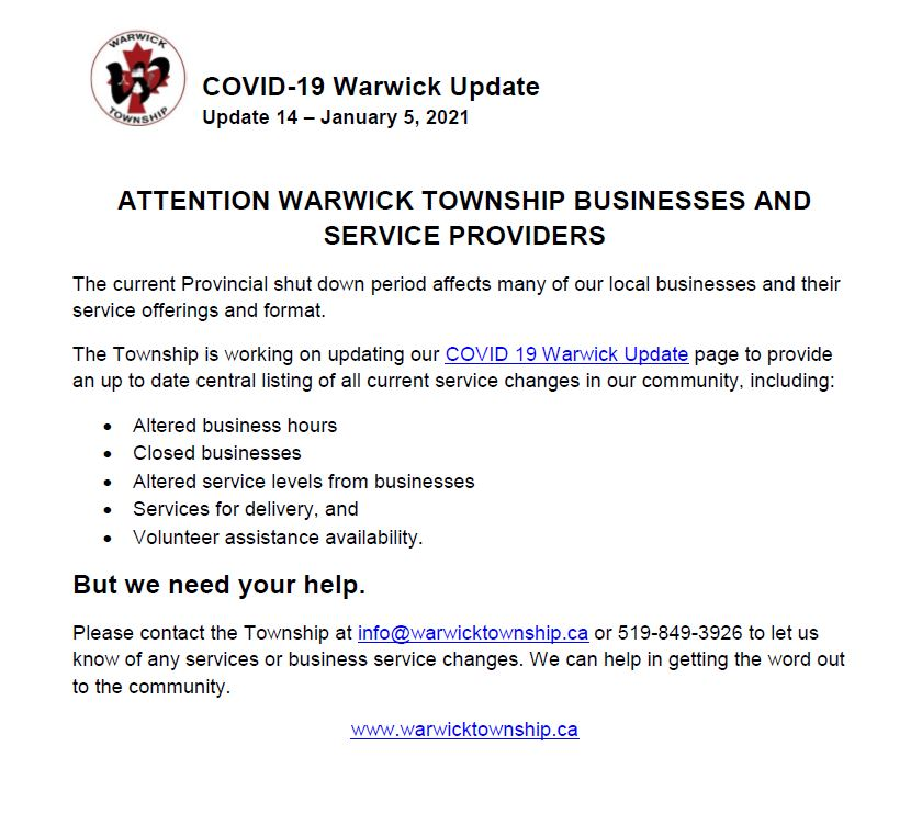 Warwick Update 14 - January 5, 2021