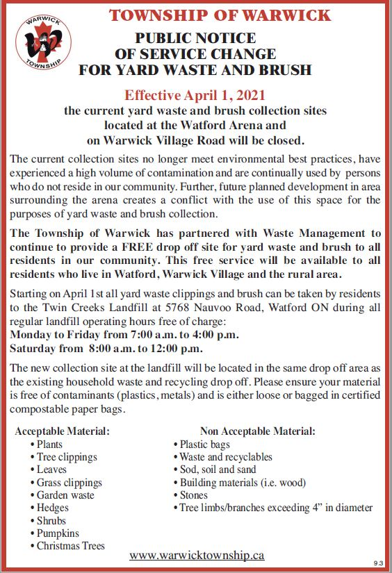 Public Notice of Service Change for Yard Waste