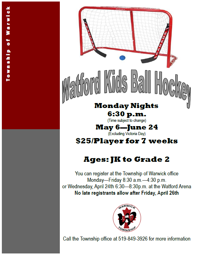 Watford Kids Ball Hockey Flyer