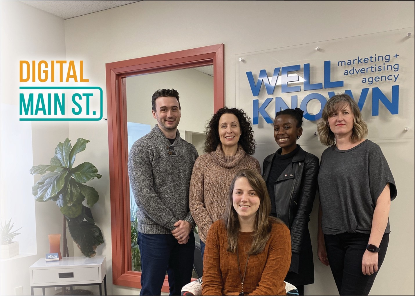 Front: Morgan Richter, Manager of the Downtown Huntsville BIA and Digital Main Street Program Manager. Back, Digital Service Squad: Dan Powers, Kyra Watters, Marie Kamukuny, and Emily Blackman